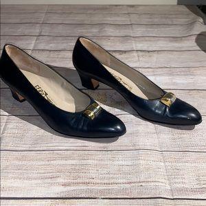 Salvatore Ferragamo Navy Kitten Heels Size 10 AAAA